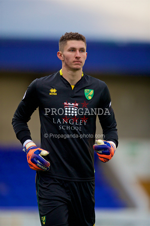 CHESTER, ENGLAND - Monday, April 3, 2017: Norwich City's goalkeeper Aston Oxborough in action against Liverpool during the Under-23 Premier League Cup Quarter-Final match at the Deva Stadium. (Pic by David Rawcliffe/Propaganda)