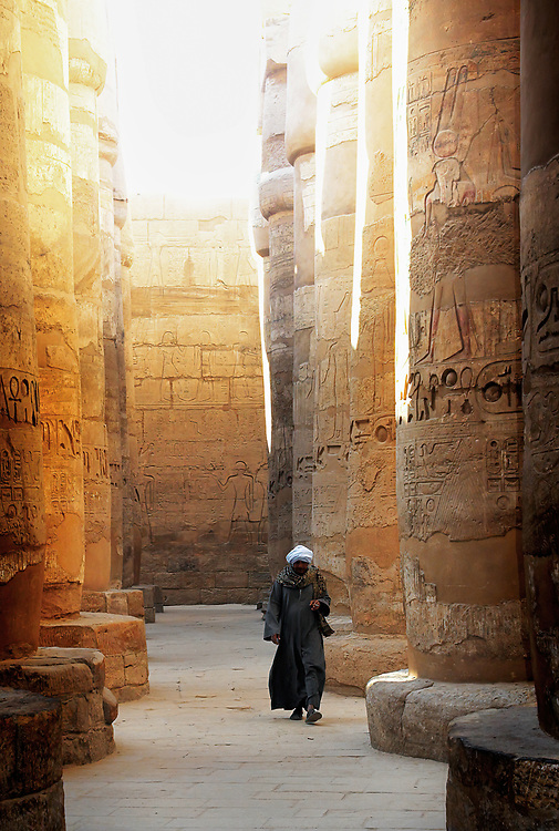 The Great Hypostyle Hall of Karnak, located within the Karnak temple complex. The hall covers an area of 50,000 sq ft (5,000 m2). The roof, now fallen, was supported by 134 columns in 16 rows; the 2 middle rows are higher than the others (being 33 feet (10 m) in circumference and 80 feet (24 m) high).