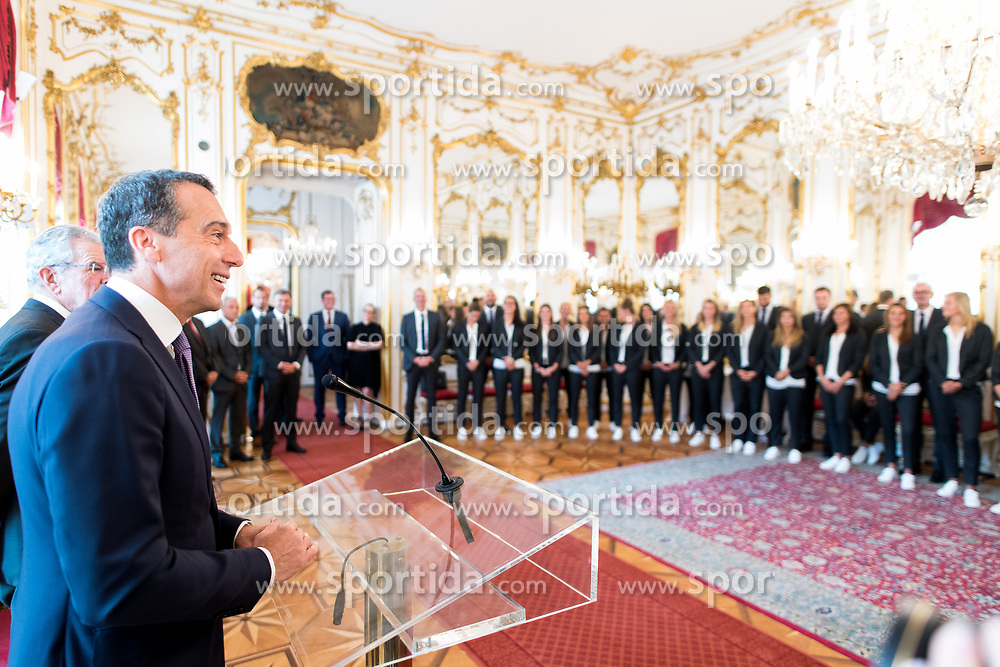 11.07.2017, Präsidentschaftskanzlei, Wien, AUT, ÖFB, Verabschiedung der Damen-Fußballnationalmannschaft, im Bild Bundeskanzler Christian Kern (SPÖ) // Federal Chancellor of Austria Christian Kern during farewell event of the Woman's Team of the Austrian Football Association at the federal presidents office in Vienna, 2017/07/11. EXPA Pictures © 2017 PhotoCredit: EXPA/ Michael Gruber