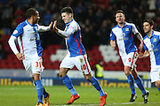Ben Marshall of Blackburn Rovers celebrates after scoring from the spot during the Sky Bet Championship match between Blackburn Rovers and Fulham at Ewood Park, Blackburn, England on 16 February 2016. Photo by Simon Brady.