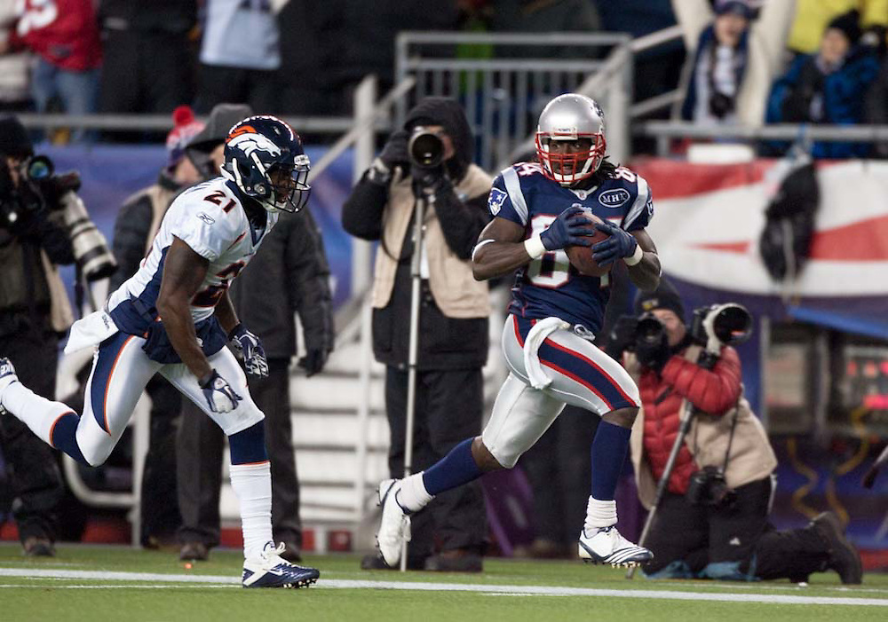 Foxborough, MA 01/14/2012.Patriots wide receiver Deion Branch scores in the first half of Saturday's AFC Divisional game between the New England Patriots and the Denver Broncos..Wicked Local Photo by Alex Jones