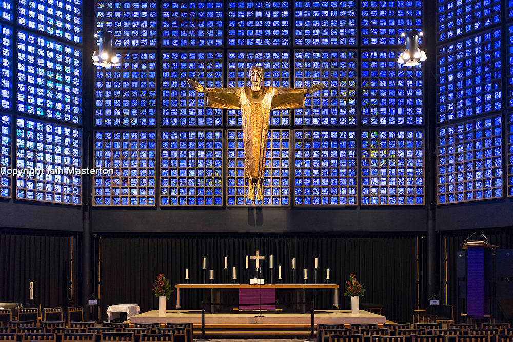 Interior of modern chapel at Kaiser Wilhelm Memorial Church in Berlin, Germany