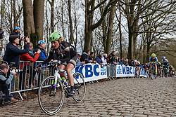 Floortje Mackaij (Liv Plantur) on the Kemmelberg - Women's Gent Wevelgem 2016, a 115km UCI Women's WorldTour road race from Ieper to Wevelgem, on March 27th, 2016 in Flanders, Belgium.