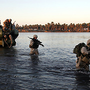 28 November 2004...Yusufiya, Iraq...Operation 'Plymouth Rock' /Amphibious landing.....US Marines and Iraqi National Guard executed the largest ever amphibious landing to take place in Iraq today 28 November in the area of Yusufiya as part of operation 'Plymouth Rock' aimed at targeting insurgent and criminal groups. After a dawn insertion in gunboats the combined forces made a sweep through palm groves, orchards and farmland searching for hidden weapons.