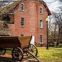 Photo of Deep River Wood's Grist Mill and wagon in Hobart Indiana. The grist mill was built in the early 1800's by John Wood.