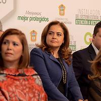 Toluca, México (Septiembre 21, 2016).- Ana Lilia Herrera Anzaldo, Secretaria de Educación durante la instalación del Sistema Estatal de Atención a Victimas, que integran funcionarios de los tres poderes mexiquenses, al mismo tiempo que se anuncio que el Edomex tendrá clínicas de estré postraumático para víctimas del delito.  Agencia MVT / José Hernández.