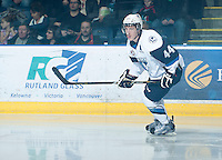 KELOWNA, CANADA - NOVEMBER 24:  Darren Dietz #44 of the Saskatoon Blades skates on the ice at the Kelowna Rockets on November 24, 2012 at Prospera Place in Kelowna, British Columbia, Canada (Photo by Marissa Baecker/Shoot the Breeze) *** Local Caption ***