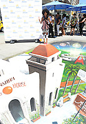 SoCal native and Broadway star Brandy Norwood interacts with 3D art to celebrate the launch of #VisitAnaheim and the city's revitalization campaign, Wednesday, June 24, 2015, in New York.  Brought to life by renowned 3D street artist Joe Hill, Anaheim is home to some of California's most exciting attractions, entertainment and sports venues, theme parks and brew scene. To learn more go to www.visitanaheim.org.  (Photo by Diane Bondareff/Invision for Visit Anaheim)