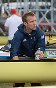 "Rio de Janeiro. BRAZIL.   James HARRIS  final touches the the W8+ boat. 2016 Olympic Rowing Regatta. Lagoa Stadium,<br /> Copacabana,  ""Olympic Summer Games""<br /> Rodrigo de Freitas Lagoon, Lagoa.   Monday  08/08/2016 <br /> <br /> [Mandatory Credit; Peter SPURRIER/Intersport Images]"