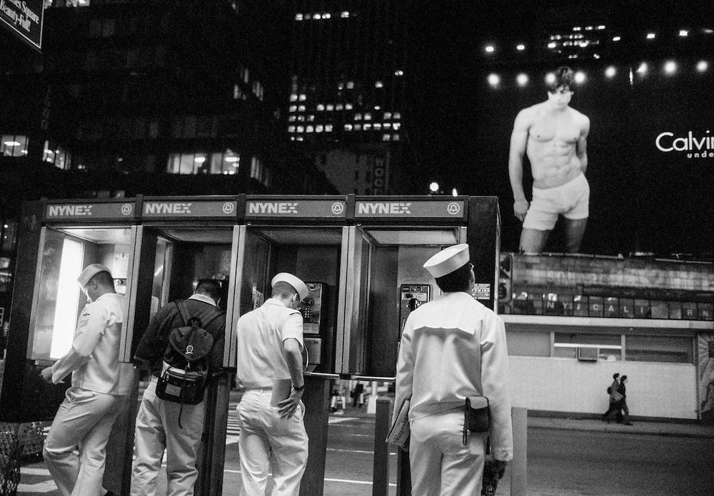 Sailors in Times Square during Fleet Week.