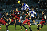 Lucas Joao (Sheffield Wednesday) heads the ball goalwards in the final seconds of the game, but it is saved during the Sky Bet Championship match between Sheffield Wednesday and Queens Park Rangers at Hillsborough, Sheffield, England on 23 February 2016. Photo by Mark P Doherty.