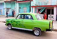 Green car with flame-job in Moron, Ciego de Avila, Cuba.