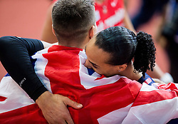 Winner Andy Pozzi of Great Britain  and Second placed Pascal Martinot-Lagarde of France celebrate after the 60m Hurdles Men Final on day one of the 2017 European Athletics Indoor Championships at the Kombank Arena on March 3, 2017 in Belgrade, Serbia. Photo by Vid Ponikvar / Sportida