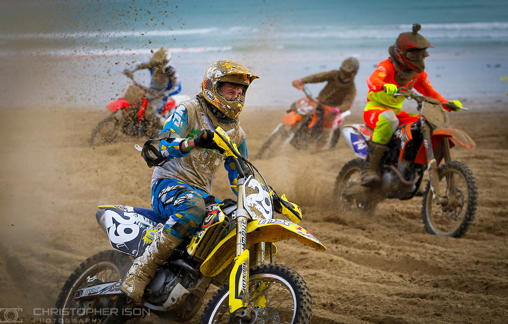 Motocross riders compete in the annual Weymouth Beach Race in the Dorset resort.
