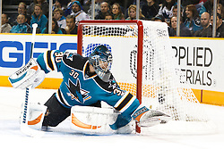 November 9, 2010; San Jose, CA, USA;  San Jose Sharks goalie Antero Niittymaki (30) makes a glove save against the Anaheim Ducks during the first period at HP Pavilion. Mandatory Credit: Jason O. Watson / US PRESSWIRE