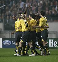 Arsenal celebratee Fredrik Ljungberg's Goal.<br />Photo: Barry Bland.<br />Ajax v Arsenal. UEFA Champions League.<br />27/09/2005.