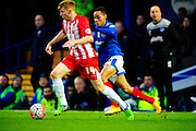Accrington Stanley's Bradley Halliday and Portsmouth's Kyle Bennett during the The FA Cup match between Portsmouth and Accrington Stanley at Fratton Park, Portsmouth, England on 5 December 2015. Photo by Graham Hunt.