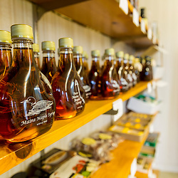 Maple syrup for sale at Maine Maple Products in Madison, Maine. The majority of the syrup bottled here is harvested in Big Six Township, Maine.
