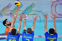Niels Klapwijk #14, Klemen Cebulj, Alen Pajenk, Mitja Gasparini during volleyball match between National teams of Netherlands and Slovenia in Playoff of 2015 CEV Volleyball European Championship - Men, on October 13, 2015 in Arena Armeec, Sofia, Bulgaria. Photo by Ronald Hoogendoorn / Sportida