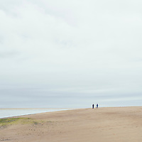 Large beach with two people and a small dog walking