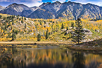 Reflections in Scout Lake  below the West Needle Mountains in the San Juan Mountains.  Colorado