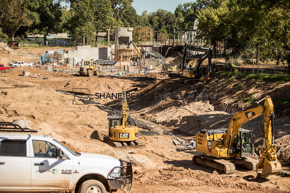 9/30/16 11:06:31 AM -- Lodge construction update. Mist Mountain Foundations, Peggy's Pond Rock install. <br /> <br /> Photo by Shane Bevel