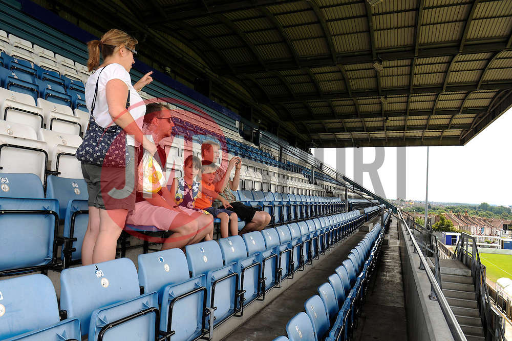 Fans sit in the stands at the memorial stadium - Photo mandatory by-line: Dougie Allward/JMP - Mobile: 07966 386802 27/07/2014 - SPORT - FOOTBALL - Bristol - Bristol Rovers - - Memorial Stadium - Fun Day