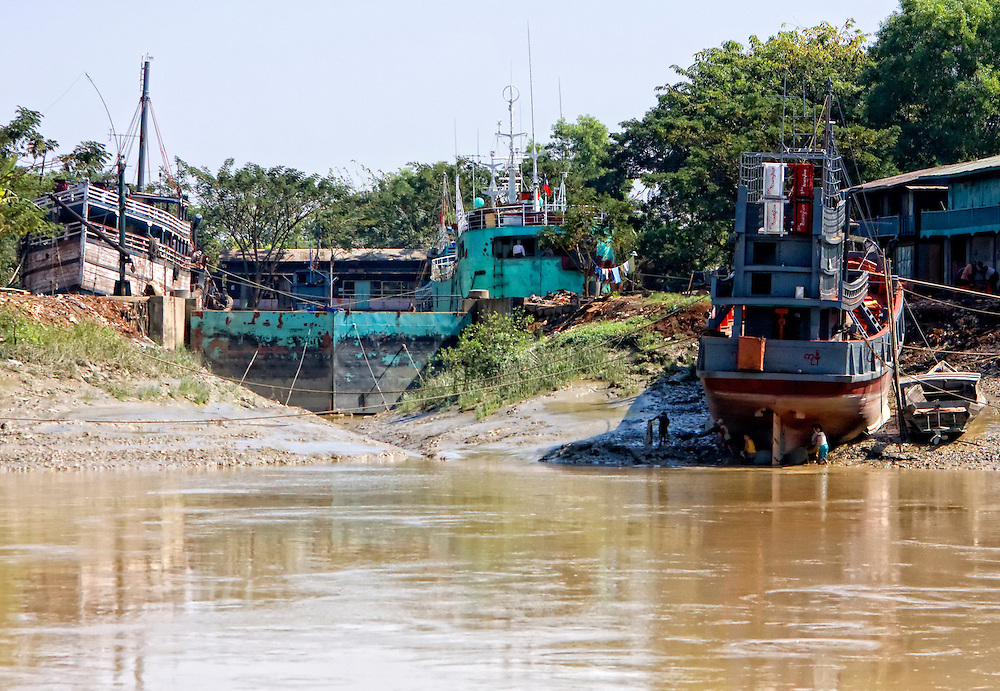 Yangon to Twante by boat, Myanmar.