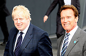 Boris Johnson and Arnold Schwarzenegger on Boris Bikes