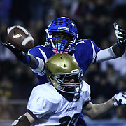 Middletown Wide Receiver Chris Godwin (12) attempts to catch the ball over Salesianum defender Colby Reeder (28) in the third quarter of the DIAA State Championship football game against Salesianum Saturday, Nov. 30 2013, at Delaware Stadium in Newark Delaware.