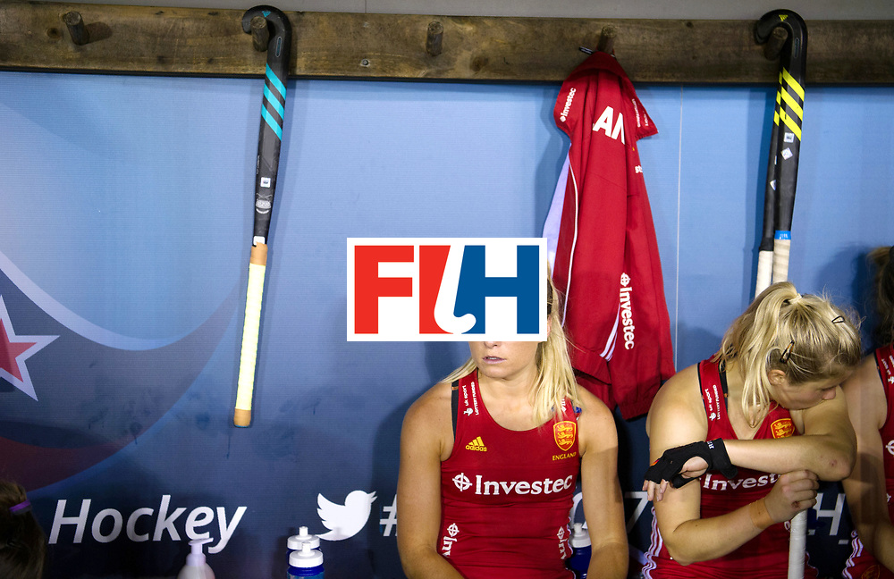 AUCKLAND - Sentinel Hockey World League final women<br /> Match id: 10310<br /> 20 ENG v NZL (Semi Final) 0-1<br /> New Zealand play the final<br /> Foto: Suzy Petty and /von Sophie Bray sad.<br /> WORLDSPORTPICS COPYRIGHT FRANK UIJLENBROEK