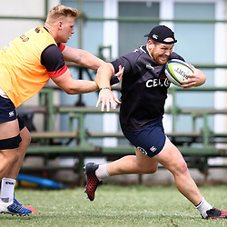 Daniel Du Preez tackling Lourens Adriaanse during The Cell C Sharks training session at Growthpoint Kings Park in Durban, South Africa. 28 March 2017(Photo by Steve Haag)<br /> <br /> images for social media must have consent from Steve Haag