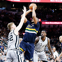 02 April 2017: Utah Jazz center Boris Diaw (33) takes a jump shot over San Antonio Spurs forward Davis Bertans (42) during the San Antonio Spurs 109-103 victory over the Utah Jazz, at the AT&T Center, San Antonio, Texas, USA.