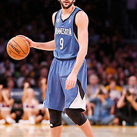 10 November 2013: Minnesota Timberwolves point guard Ricky Rubio (9) is seen during the Minnesota Timberwolves 113-90 victory over the Los Angeles Lakers at the Staples Center, Los Angeles, California, USA.