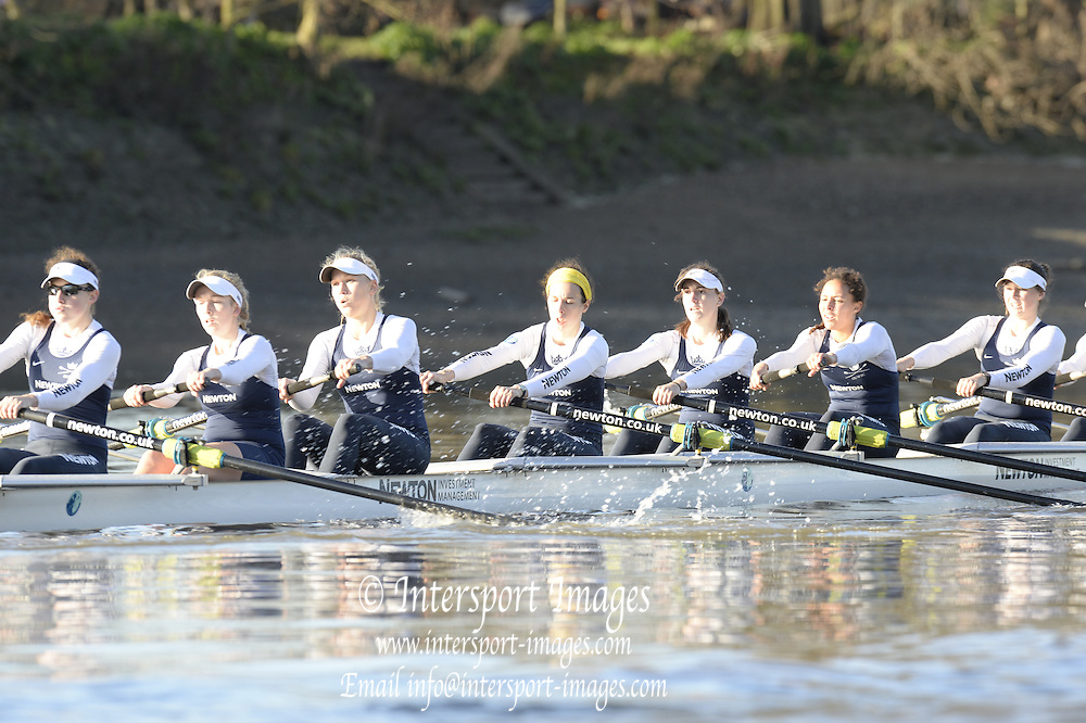 Putney, Greater London, United Kingdom. Oxford, Cleopatra, right to left. 2. Chloe FARRAR,3. Isabella EVANS, 4. Hannah LEDBURY, 5. Harriet KEANE<br /> 6. Elo LUIK, 7. Amber de VERE, Stroke. Laura SAVAR.<br />  2013 Women's Trials Eights.  Thursday  19/12/2013 [Mandatory Credit; Peter Spurrier/Intersport-images]