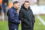 Forest Green Rovers assistant manager, Scott Lindsey and Forest Green Rovers manager, Mark Cooper during the EFL Sky Bet League 2 match between Stevenage and Forest Green Rovers at the Lamex Stadium, Stevenage, England on 26 January 2019.