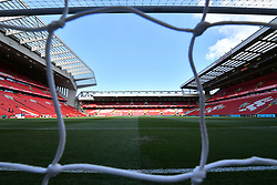 General view of the pitch before the Premier League match at Anfield, Liverpool.