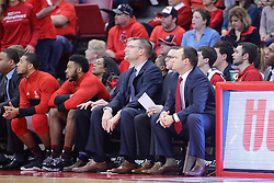 11 February 2017:  Brian Wardle and the Braves bench during a College MVC (Missouri Valley conference) mens basketball game between the Bradley Braves and Illinois State Redbirds in  Redbird Arena, Normal IL