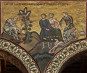 Noah's Nakedness, with Noah making wine from a grapevine and sleeping, to be covered by his sons, mosaic from the Genesis cycle in the nave of Monreale Cathedral or the Duomo di Monreale, built 1172-89 under King William II in Palermo, Sicily, Italy. The cathedral interior is covered in Byzantine style glass mosaics made 12th and 13th centuries depicting biblical stories. The church is a national monument and forms part of a UNESCO World Heritage Site. Picture by Manuel Cohen