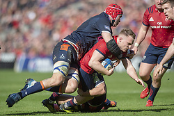 March 30, 2019 - Edinburgh, Scotland, United Kingdom - Rory Scannell of Munster tackled by John Barclay of Edinburgh during the Heineken Champions Cup Quarter Final match between Edinburgh Rugby and Munster Rugby at Murrayfield Stadium in Edinburgh, Scotland, United Kingdom on March 30, 2019  (Credit Image: © Andrew Surma/NurPhoto via ZUMA Press)