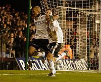 Photo: Daniel Hambury.<br />Fulham v Tottenham Hotspurs. Barclays Premiership. 31/01/2006.<br />Fulham's Carlos Bocanegra  (right) celebrates his goal with Collins John.