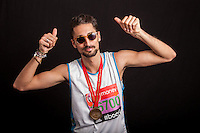 PR and reality TV star Hugo Taylor (Made in Chelsea). Portraits of celebrities shortly after they have crossed the line to finish the Virgin Money London Marathon 2014 at the finish line on Sunday 13 April 2014<br /> Photo: Dillon Bryden/Virgin Money London Marathon<br /> media@london-marathon.co.uk