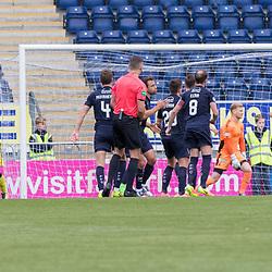 Josh Mullin of Livingston wheels away in celebration after scoring his free kick. Falkirk v Livingston, Ladbrokes Championship, 23rd September 2017. (c) Paul Cram | SportPix