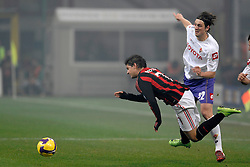 AC Milan's Brazilian forward Pato is tripped during his team's Italian Serie A match against Fiorentina on January 17, 2009 at San Siro Stadium in Milan. AC Milan defeated Fiorentina 1-0.