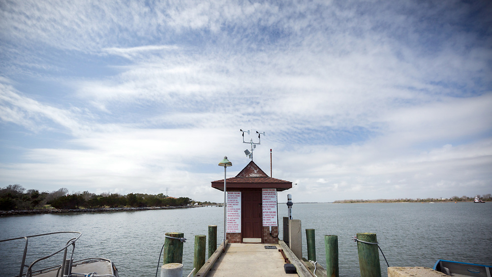 COCKSPUR ISLAND, GA. - FEBRUARY 21, 2018: The NOAA river gauge at Fort Pulaski measured a record 12-foot storm surge during one of the last two hurricanes that passed the coast of Georgia. (WABE Photo/Stephen B. Morton)