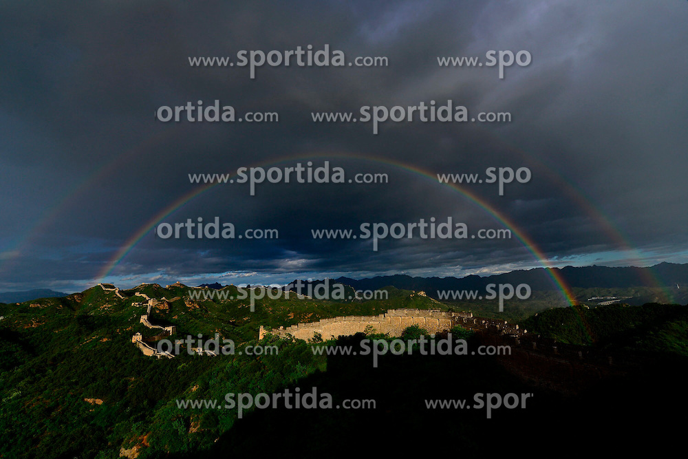 Photo taken on June 11, 2015 shows rainbows in the sky above the Jinshanling section of the Great Wall in Chengde, north China's Hebei Province. EXPA Pictures &copy; 2015, PhotoCredit: EXPA/ Photoshot/ Guo Zhongxing<br /> <br /> *****ATTENTION - for AUT, SLO, CRO, SRB, BIH, MAZ only*****