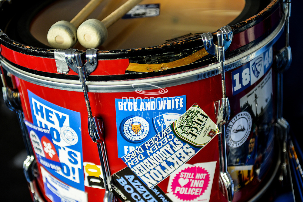 Fox's supporter's drum ready for the action to start during the Premier League match between Leicester City and Chelsea at the King Power Stadium, Leicester, England on 9 September 2017. Photo by Jon Hobley.