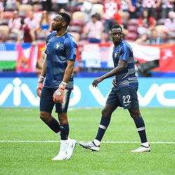 Steve Mandanda and Benjamin Mendy of France during the World Cup Final match between France and Croatia at Luzhniki Stadium on July 15, 2018 in Moscow, Russia. (Photo by Anthony Dibon/Icon Sport)
