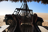 rest in a hammock after a buggy tour tatajuba near jericoacoara in ceara state in brazil