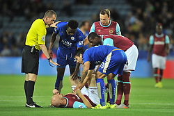 West Hams James Collins is knocked out by a head collision at Leicester, Leicester City v West Ham Utd, Carling Cup Round 3, King Power Stadium, Tuesday 22nd September 2015.